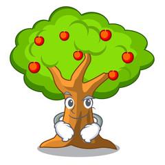 Smirking apple tree full of isolated mascot