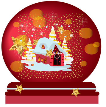 Magic Christmas snow globe vector illustration. Glass snowglobe gift with small house and winter pine trees forest inside on snowflakes seamless pattern.