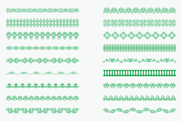 Set of horizontal isolated Green lace borders for design. Patterned elegant beautiful edge. Vector illustration