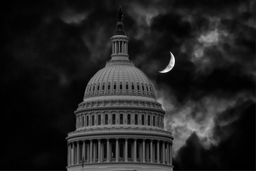 Wall Mural - dc capitol at night in washington usa with half moon
