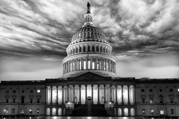 Wall Mural - dc capitol at night in washington usa in b&w