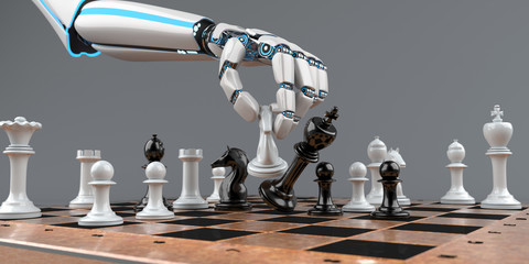 Schachmatt Eine Roboterhand mit Schachfiguren auf einem Schachbrett