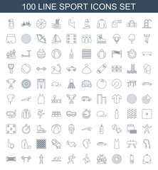 sport icons. Set of 100 line sport icons included bra, water bottle, target, ranking, paintball, running, swimming man on white background. Editable sport icons for web, mobile and infographics.