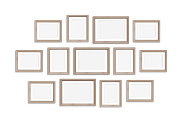 Frames collage, thirteen blank wooden frameworks mockup, interior decor, gallery style