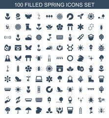 spring icons. Set of 100 filled spring icons included beetle, heart flower, plant, pot for plants, flower on white background. Editable spring icons for web, mobile and infographics.