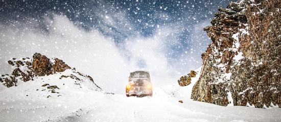 Winter car in snow
