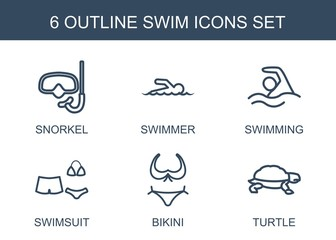 swim icons. Set of 6 outline swim icons included snorkel, swimmer, swimming, swimsuit, bikini, turtle on white background. Editable swim icons for web, mobile and infographics.