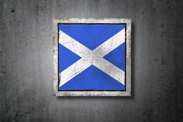 Scratched Scotland flag