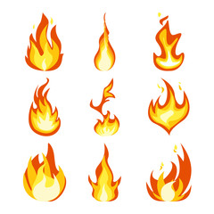 Fire light effect, flames set design vector icon
