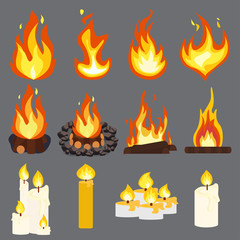 Fire light effect, flames candle woodpile set design  vector