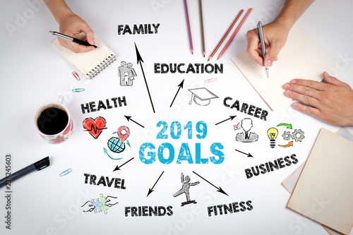 2019 goals Concept  Chart with keywords and icons  The meeting at