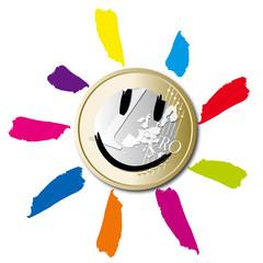 Une pièce d'un euro avec un soleil dessiné dessus pour symboliser la sortie de crise.