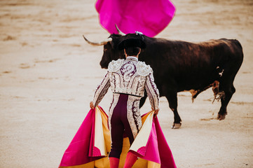 Photo sur Toile Corrida Spanish bullfight. The enraged bull attacks the bullfighter