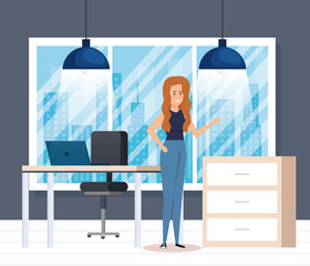 modern office with businesswoman