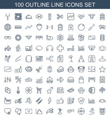 line icons. Set of 100 outline line icons included harp, curved arrow, hour, measuring tape, onion, earphone wire on white background. Editable line icons for web, mobile and infographics.