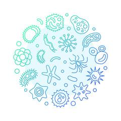 Viruses round vector blue modern illustration in outline style. Virus or infection concept symbol on dark background