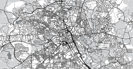Urban vector city map of Bolton, England