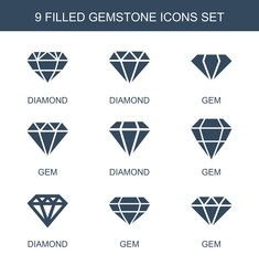 gemstone icons. Set of 9 filled gemstone icons included diamond, gem, Diamond on white background. Editable gemstone icons for web, mobile and infographics.