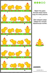 Visual logic puzzle: Match the pairs - find the exact mirror copy for every picture - row of chicks. Answer included.