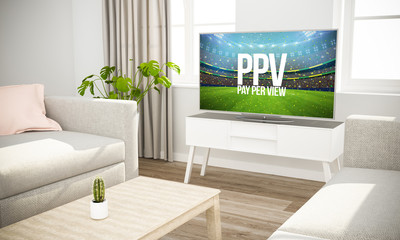 streaming sports event television sofa in scandinavian living room