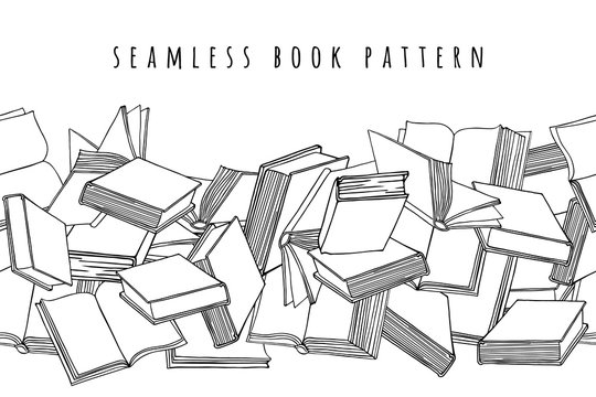 Book pattern. Seamless horizontal texture with open and closed books. Hand drawn vector illustration.