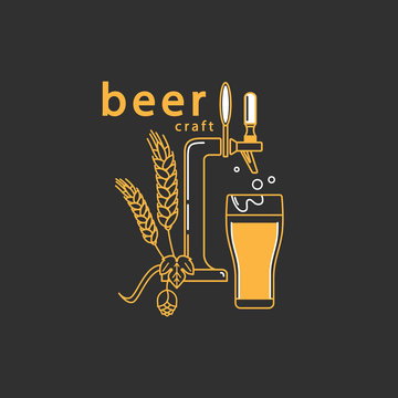 Vector symbol in modern line style with beer tap, hop, wheat and beer glass. Isolated elements on a dark background. Brewery logo, craft beer label, alcohol shop, pub icon.