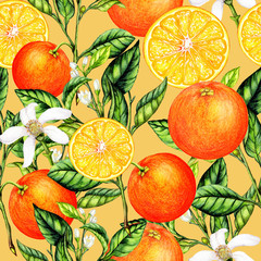 Seamless pattern of watercolor orange fruits