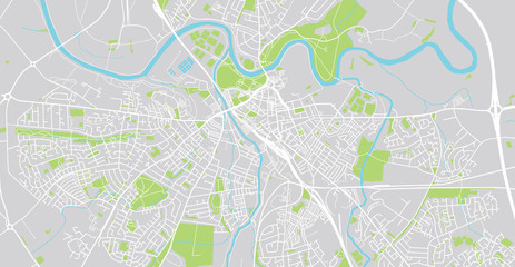 Urban vector city map of Carlise, England