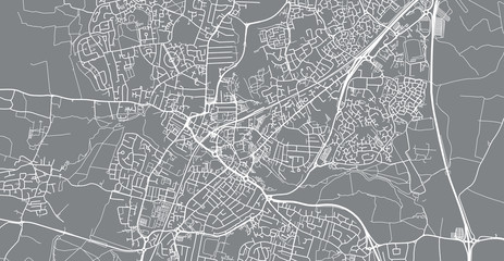 Urban vector city map of Chelmsford, England