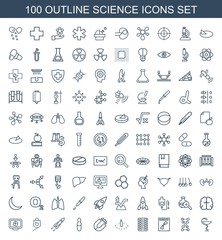 science icons. Set of 100 outline science icons included medicine, dna, x ray, pill, sundial, magnet, medical ampoule on white background. Editable science icons for web, mobile and infographics.
