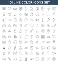 color icons. Set of 100 line color icons included money in hand, tick, customer support, beach ball, desk phone on white background. Editable color icons for web, mobile and infographics.