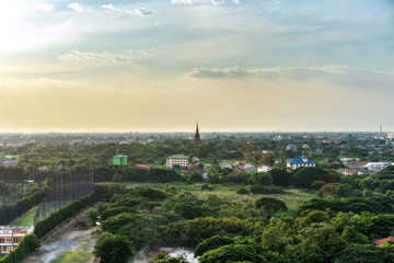 The beautiful of landscape and village during sunrise and sunset. Green landscape village scenery. Nature background, image for background, wallpaper, interior.