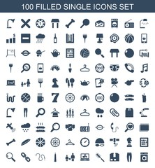 single icons. Set of 100 filled single icons included washing machine, underpants, cargo container, toilet brush on white background. Editable single icons for web, mobile and infographics.