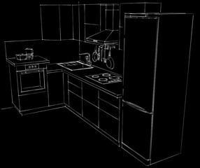 Contour illustration of L-shape modern style kitchen with chimney cooker hood, built in oven, electric hob, sink, tap, fridge and utensils on a hook strip. White lines on a black background.
