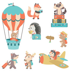 Cute Baby Forest Animals Traveling Theme Old Fashion Retro Flat Vector Illustration Design Elements Isolated on White