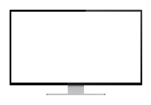 Realistic illustration of black computer monitor with silver stand and blank white isolated screen with space for your text or image - isolated on white background