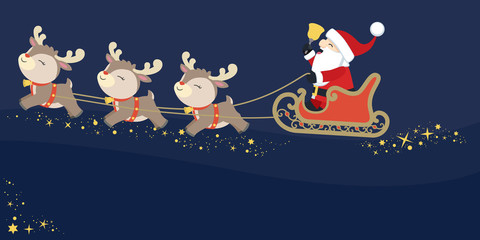 Santa Claus with Cute Reindeers Flying in the Santa's Sleigh Ringing Bell on Dark Background Christmas Flat Vector Illustration
