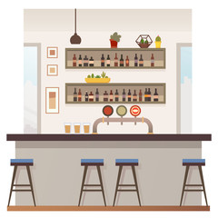 Empty Bar or Pub Interior Flat Vector Illustration