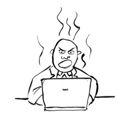 Black brush and ink artistic rough hand drawing of angry businessman working on computer.