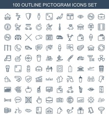 pictogram icons. Set of 100 outline pictogram icons included filter, photo, gift, distance, cat, book, eye on white background. Editable pictogram icons for web, mobile and infographics.