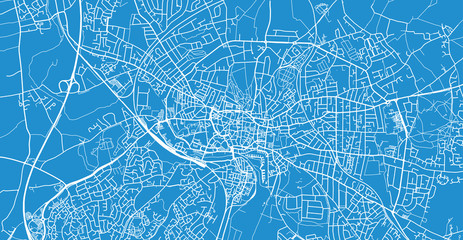 Urban vector city map of Ipswich, England