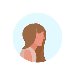 brown hair woman profile avatar isolated female cartoon character portrait flat vector illustration