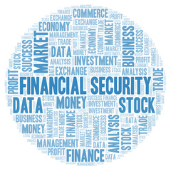 Financial Security word cloud.