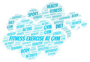 Fitness Exercise At Gym word cloud.