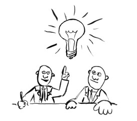 Black brush and ink artistic rough hand drawing of two businessmen thinking together about problem with light bulb as idea metaphor.