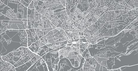 Urban vector city map of Nottingham, England