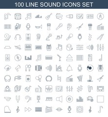 sound icons. Set of 100 line sound icons included music note, treble clef, loud speaker, microphone, xylophone on white background. Editable sound icons for web, mobile and infographics.