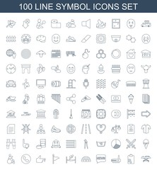 symbol icons. Set of 100 line symbol icons included hospital stretch, clipboard, router, chat, barn, trampoline on white background. Editable symbol icons for web, mobile and infographics.