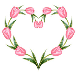Illustration of watercolor hand drawn heart frame with colorful pink tulips. Spring flowers. 8 March. Template for label, greeting post card for Valentine's and Women's Day. Vintage style.