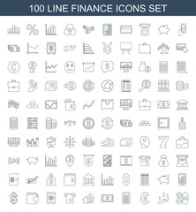 finance icons. Set of 100 line finance icons included calculator, money on hand, euro, calclator, money, dolar growth on white background. Editable finance icons for web, mobile and infographics.